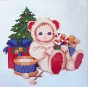 Набор вышивки крестом - Медвежонок под елочкой
