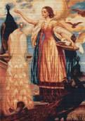 Набор вышивки крестом - Девушка кормящая павлинов