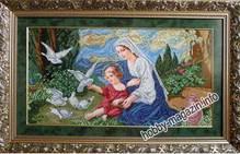 Набор вышивки бисером икона Богородица и голуби