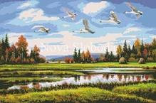 Схема на канве с рисунком - Гуси-лебеди