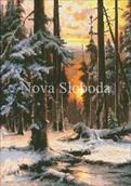 Схема на канве с рисунком - Закат в зимнем лесу