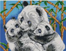 Панды - схема вышивки