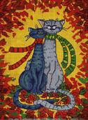 Кошки - схема вышивки